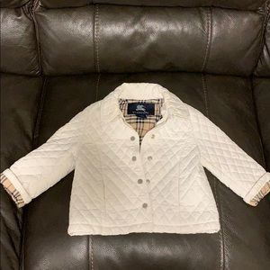 Burberry White Quilted Jacket Coat 2 y/ 2T